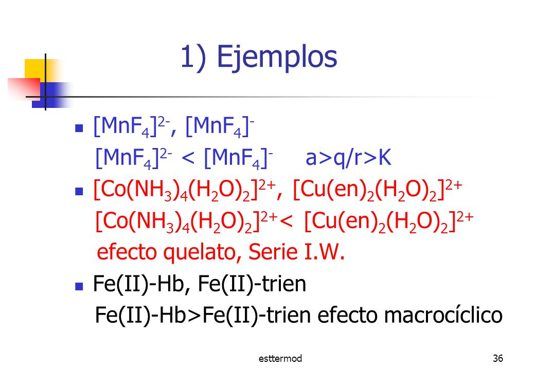 1) Ejemplos [MnF4]2-, [MnF4]- [MnF4]2- < [MnF4]- a>q/r>K
